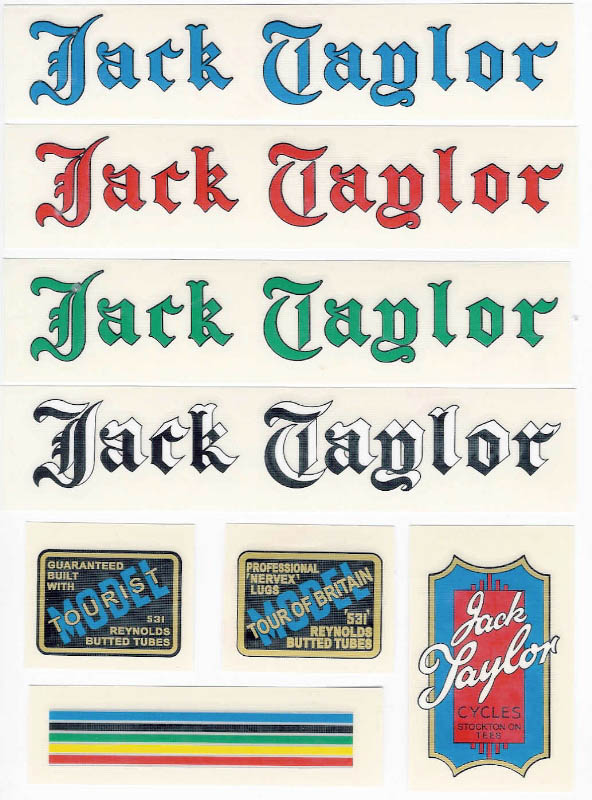 Jack Taylor Bicycle Decals Transfers Stickers Set 1